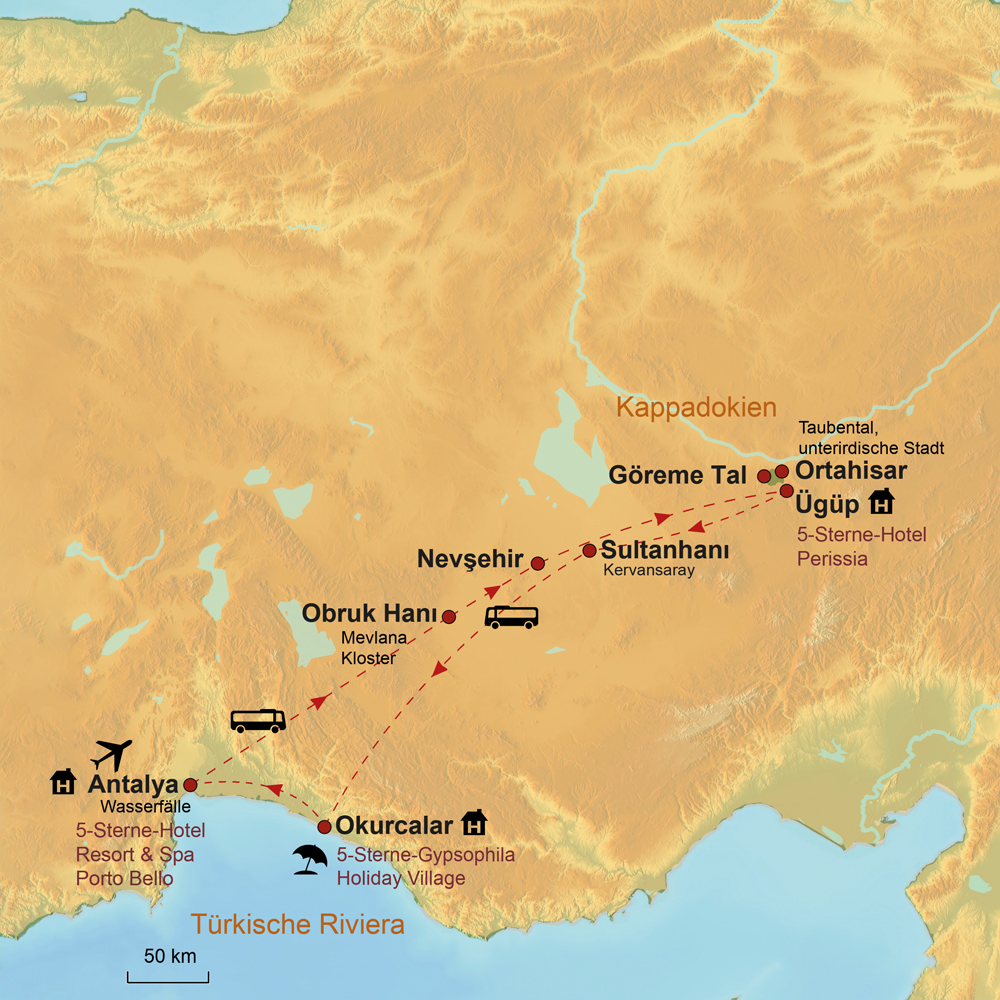 Karte Türkei Kappadokien.Kappadokien Türkische Riviera