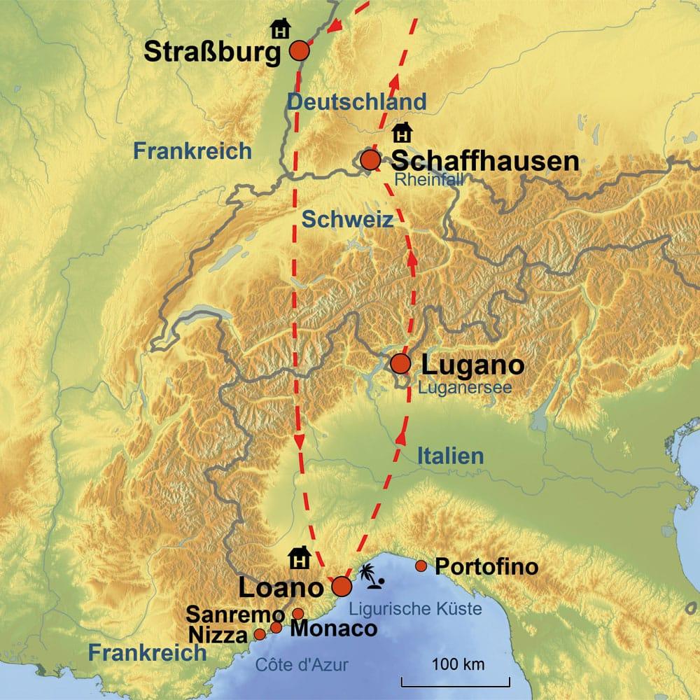 Monaco Italien Karte.8 Tage Erlebnisreise An Die Ligurische Kuste Spruhende